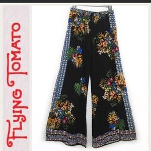 Flying Tomato Black Tropical Floral Palazzo Pant